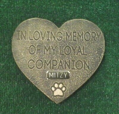 Dog or cat  Pet Memorial with plaque  headstone/stone/memorial heart