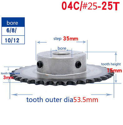 "#25 Chain Drive Sprocket 04C 25T Gear 25 Tooth Pitch 1/4"" Bore 6/8/10/12mm"