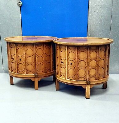 Mid Century Modern Nightstands end side tables Set Pair Century Cane Vintage Mcm