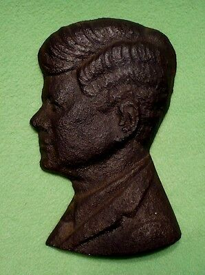 Vintage SOLID CAST IRON profile of smiling JOHN F KENNEDY wall decor.Nice patina
