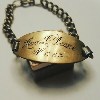 ANTIQUE 19th C ID BRACELET NAME ADDRESS ENGRAVED