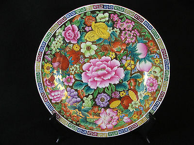 """Antique Chinese Floral Extravaganza on Gold Gilt 10"""" Porcelain Plate****SALE"""