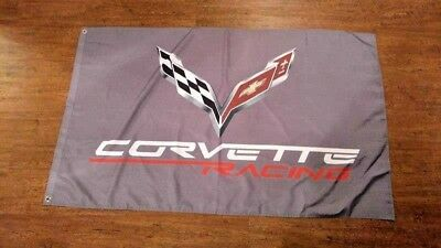 Corvette Racing Gray Chevrolet Flag Banner 3X5Ft  C5 C6 C7 C3 C4 C2 C1 Z06 Zr1