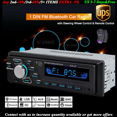 Car Player Head Unit Bluetooth MP3 FM 12V SD/USB/AUX Radio 1 Din Remote Stereo