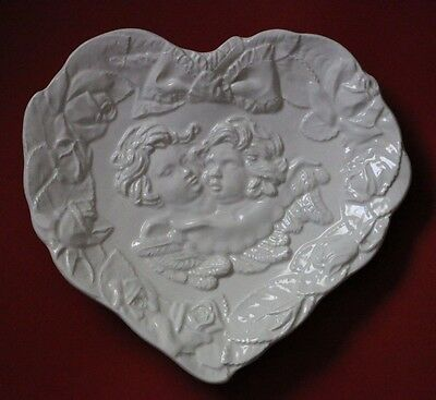 Vintage Italian Ivory Heart Shaped Cupid Angels Rose Dish Tray Plate Italy 7360