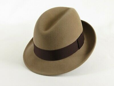 4b1a9623d2c Men Fedora Hat BRONER Crushable Soft Wool Windy City Center Crease Taupe  Brown