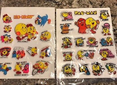 Lot Of 2 Vintage 1980's PAC Man Puffy 3-D Stickers