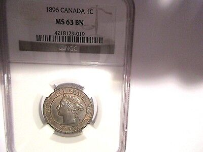 Canada One Cent 1896 NGC MS 63 BN