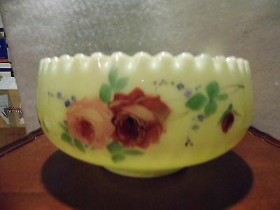 Antique Jefferson Custard Glass Rose OPTIC Master Berry Bowl Vaseline