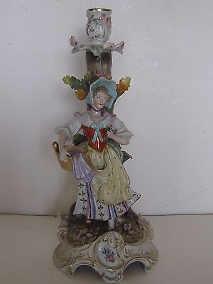 13 in antique germany porcelain single candlestick germany blue mark woman lady