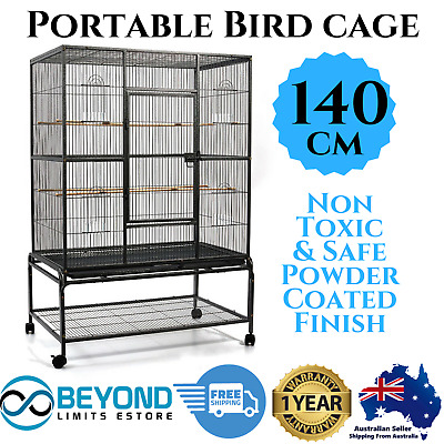 Bird Cage Parrot Aviary Pet Budgie Canary Perch Portable Castor Wheels LG 140cm