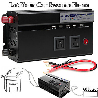 2000W/4000W Car Power Inverter 2 AC Outlets 12V DC to 110V AC Truck RV Pickup LS