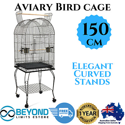 Parrot Finch Canary Budgie Pet Aviary Bird Cage w/ Open Roof Castor Wheels150cm