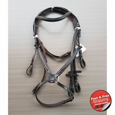 Mexican Brown Leather Bridle With Webb and Leather Reins
