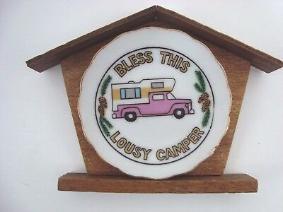 Vintage Bless this Lousy Camper Wall Hanging Mini Plate Mounted Wood Pink Truck