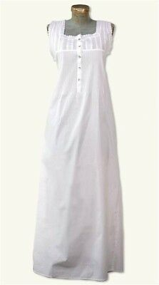 Victorian Trading Co Amelia Nightgown White Pin Tuck Med Free Ship NIB