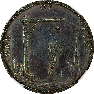 1790's Great Britain NGC AU-55 BN Spence Token 1/2P - Middlesex - E: Plain