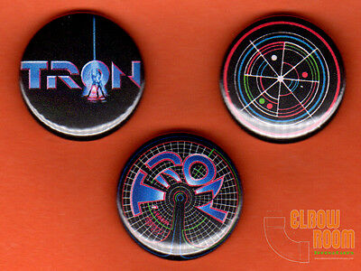 """Set of three 1"""" Tron pins buttons arcade Flynns"""