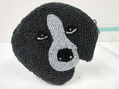 New Beaded Grey & White Pet Dog Face Shaped Zippered Coin Purse Dogs