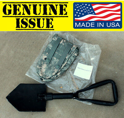 GENUINE US MILITARY Trifold FOLDING SHOVEL E-Tool Entrenching ames army CASE GI