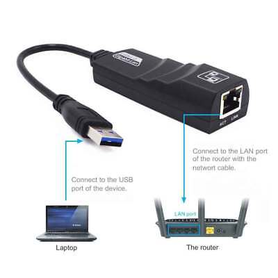 USB 3.0 to 10/100/1000 Gigabit RJ45 Ethernet LAN Network Adapter 1000Mbps Black