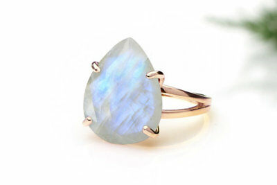 Rainbow Moonstone Ring 18K Rose Gold Plated Boho Antique Pear Jewelry Size 6-10