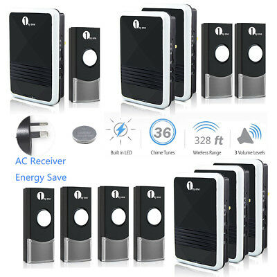 Wireless Digital Doorbell 36 Chimes Waterproof Plug-in Receiver sync Remote LED