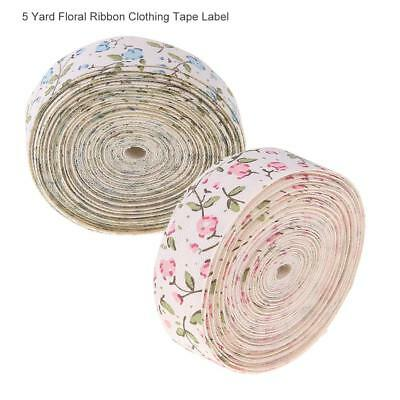 5 Yard Flower Pattern Ribbon Clothing Tape Label Craft DIY Bowknot Accessories