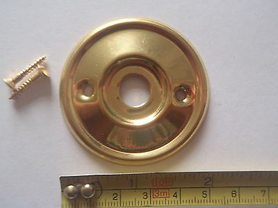 A RE-PLACEMENT BRASS DOOR KNOB BACK PLATE / ROSE 52 mm DIAMETER RIM LOCK ETC.