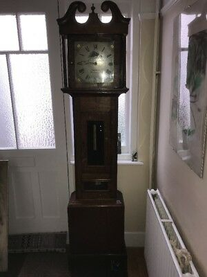 Antique Oak Cased Grandfather Clock