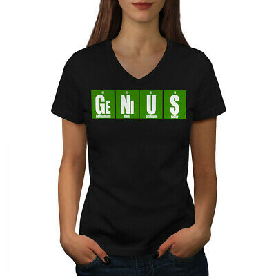 308f0edf2d Wellcoda Genius In Chemistry Womens V-Neck T-shirt, Funny Graphic Design Tee