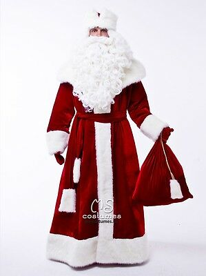 Ded Moroz costume, christmas russian santa claus outfit adult, long coat for men