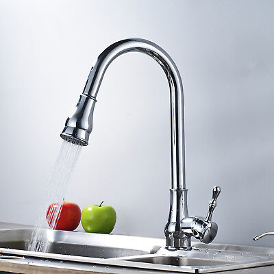 Commercial Single Handle Pull Down Sprayer Kitchen Faucet, Pull Out Mixer Tap