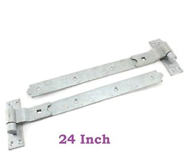 """4 x HEAVY DUTY GATE STRAP HINGES 250mm//10/"""" Long GALVANISED Tee Inch Garden Shed"""