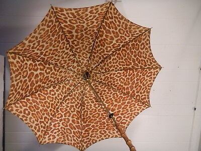 Vintage 1950s leopard print umbrella bamboo handle animal print rockabilly