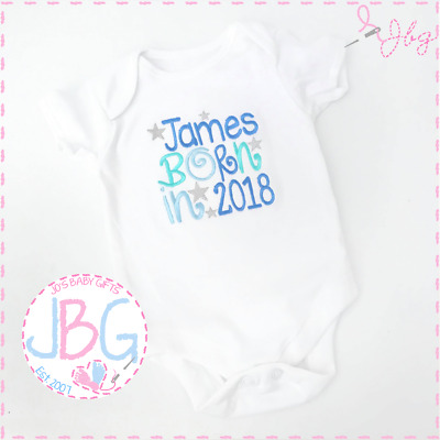 Personalised EMBROIDERED Vest Bodysuit 'Born 2017/2018' New baby boy, clothes