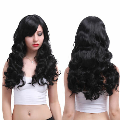 Long Black Curly Wavy Heat Resistant Hair Wig Women Lolita Party Cosplay Wig