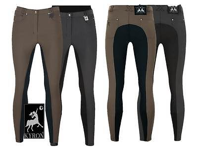KYRON Women Equestrian Pants Soft Grip, Full Seat, Anthracite or Nutmeg