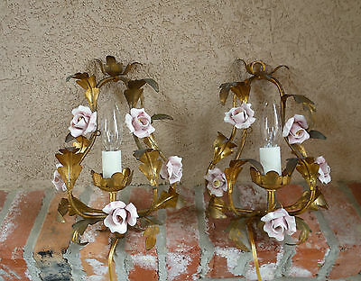 PAIR 2 Antique FRENCH Pink Porcelain Flower Rose Wall Sconce Light Fixture Gold