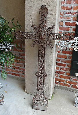 Antique French Cast Iron Cross Crucifix Chapel Garden Church Cemetery Marker