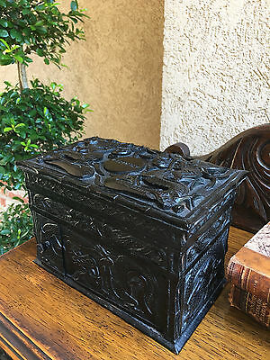 Antique English Carved Wood Smoke Cigarette Box British Colonial India dragon