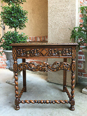 Antique French Carved Oak Barley Twist Lamp End Table Nightstand Renaissance