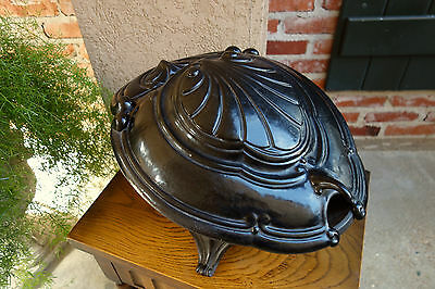 Antique French Victorian Cast Iron Fireplace Hearth Coal Hod Scuttle Shell