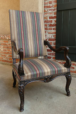 Antique French Carved Walnut Dining Arm Chair Fireside Library Reading Throne