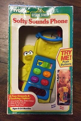 """NEW """"Sesame Street"""" Softy Sounds Phone by """"Tyco"""" in Box (Lights, Sounds)"""