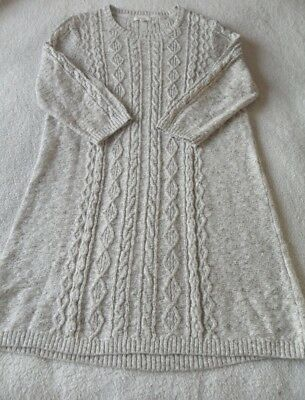 Ex Fat Face Thea Natural Marl Cable Knit 3/4 Sleeve Jumper Dress Size  14 16 18