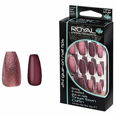 Royal 24 Coffin False Nail Tip Tinsel Town Plum Colour And Glitter Nails Tips
