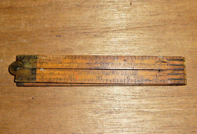 Antique 24 inch Wood and Brass Folding Ruler: F.O Erickson, Chicago History