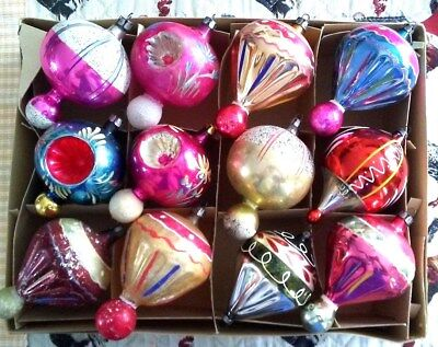 12 Beautiful Vintage Old Antique Christmas Glass Ornaments (Balloons)