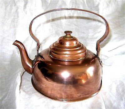 Antique Norway #3 Hand Forged Copper Kettle Norwegian Water Tea Tin-lined